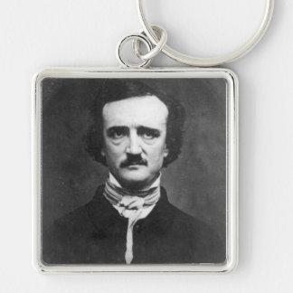 Edgar Allen Poe Silver-Colored Square Key Ring