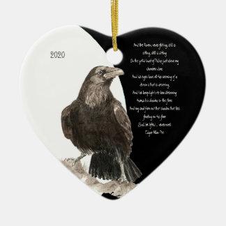 Edgar Allen Poe Quote  Watercolor Raven Bird Ceramic Heart Decoration
