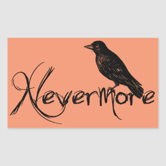 Edgar Allen Poe Raven Nevermore Halloween Rectangular Sticker