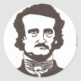 edgar allen poe round sticker