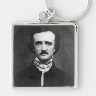 Edgar Allen Poe Silver-Colored Square Key Ring