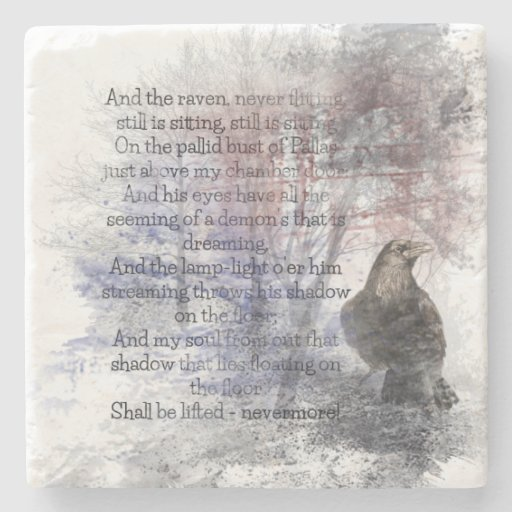 "Edgar Allen Poe ""The Raven"" raven bird Halloween Stone Beverage Coaster"