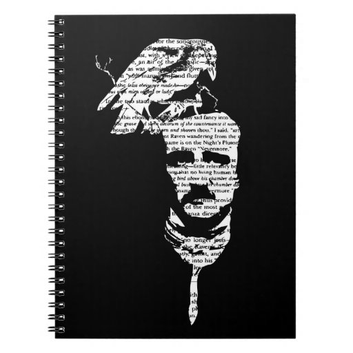 Edgar Allen Poe with Raven Notebook