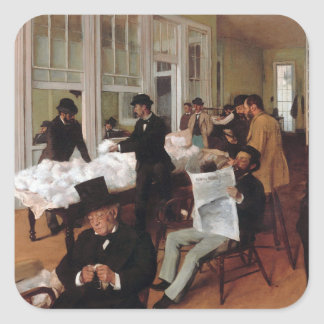 EDGAR DEGAS- A cotton office in New Orleans 1873 Square Sticker