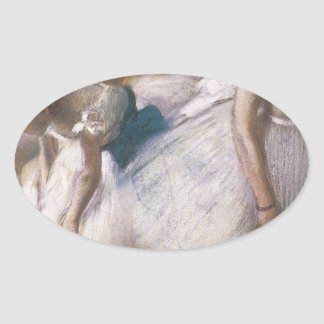Edgar Degas Before The Rehearsal Oval Stickers