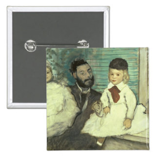 Edgar Degas | Comte Le Pic and his Sons 15 Cm Square Badge