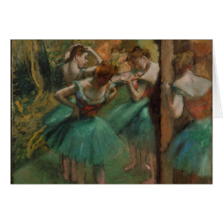 Edgar Degas Dancers Pink and Green Greeting Card