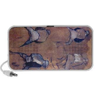 Edgar Degas - Four studies of Jockeys Portable Speaker