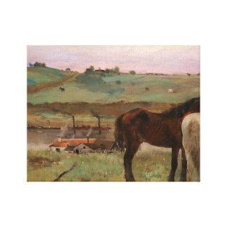 Edgar Degas - Horses in a Meadow Canvas Print