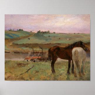 Edgar Degas - Horses in a Meadow Poster