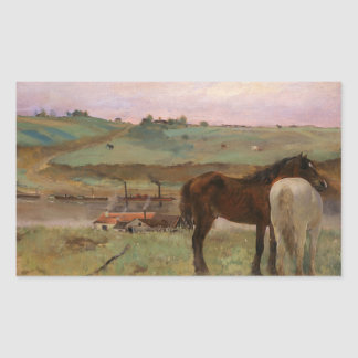Edgar Degas - Horses in a Meadow Rectangular Sticker