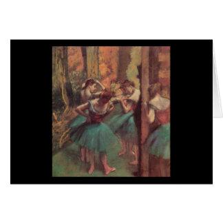 Edgar Degas Pink and Green Dancers Card