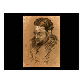 Edgar Degas Portrait of Diego Martelli 2 Postcard