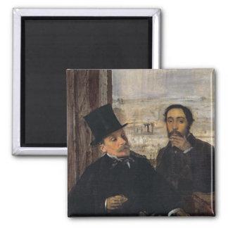 Edgar Degas   Self Portrait w Evariste de Valernes Square Magnet