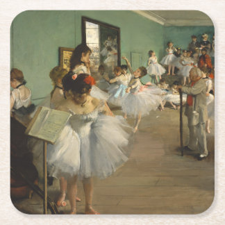 Edgar Degas-The dance class 1874 Square Paper Coaster