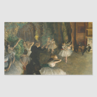 Edgar Degas - The Rehearsal of the Ballet Onstage Rectangular Sticker