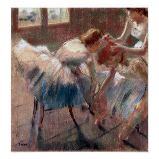 Edgar Degas Three Dancers Preparing for Class Poster