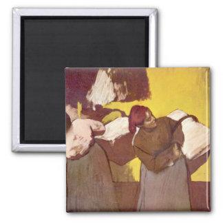 Edgar Degas - Two washer women Square Magnet