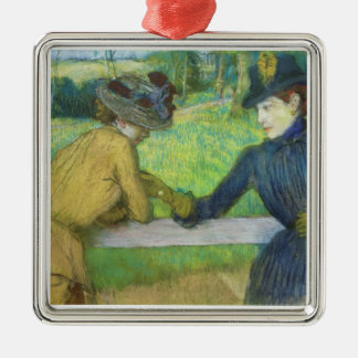 Edgar Degas | Two women leaning on a gate Silver-Colored Square Decoration
