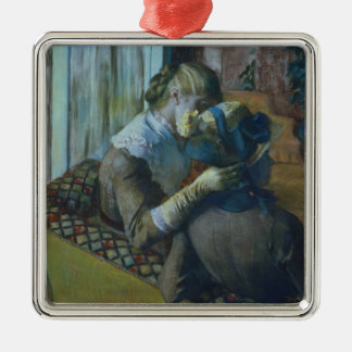 Edgar Degas | Two Women Silver-Colored Square Decoration