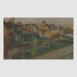 Edgar Degas - View of Saint-Valery-sur-Somme Rectangular Sticker