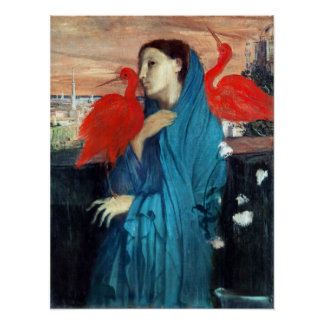 Edgar Degas Young Woman with Ibis Poster