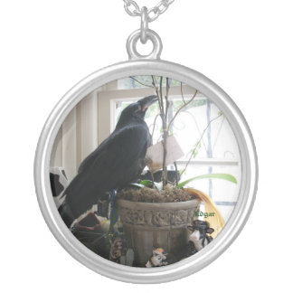 Edgar the raven necklase silver plated necklace