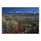 Edgartown Lighthouse and flowers Martha's Vineyard Card