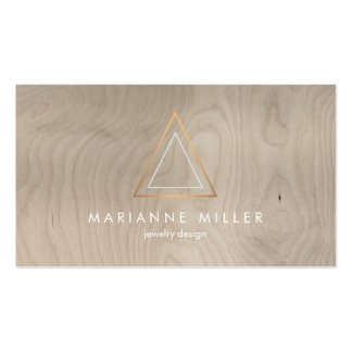 Edgy and Modern Copper Triangle Logo on Beige Wood Double-Sided Standard Business Cards (Pack Of 100)