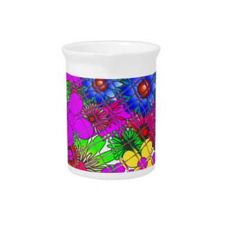 Edgy Beautiful colorful amazing floral pattern des Drink Pitcher