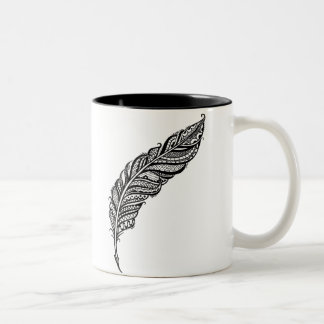 Edgy & Chic Intricate Lace Feather illustration Two-Tone Coffee Mug