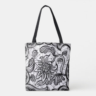 Edgy & Chic Intricate Lace Flower illustration Tote Bag