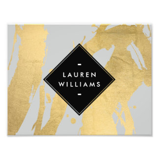 Edgy Faux Gold Brushstrokes on Gray Photo Print