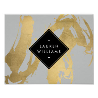 Edgy Faux Gold Brushstrokes on Gray Poster