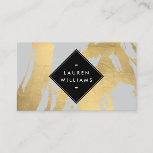 Edgy business cards zazzle au edgy faux gold brushstrokes on grey business card colourmoves