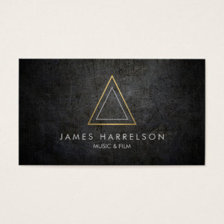 Edgy Faux Gold Triangle Logo on Black Metal Business Card