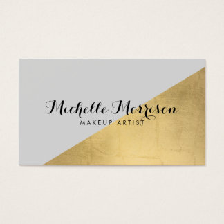 Edgy Geometric Faux Gold Foil and Gray Color Block Business Card