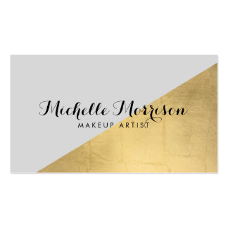 Edgy Geometric Faux Gold Foil and Gray Color Block Pack Of Standard Business Cards