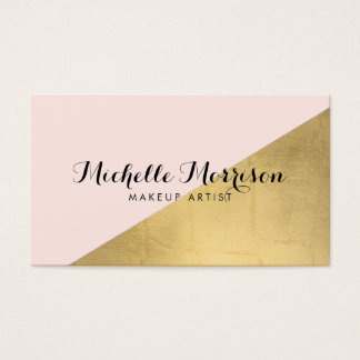 Edgy Geometric Faux Gold Foil and Pink Color Block