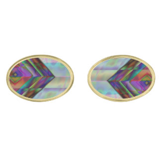 Edgy Masculine Water Colors Gold Finish Cufflinks