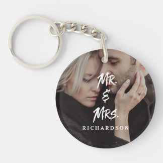 Edgy Modern Typography | Mr and Mrs with Photo Key Ring