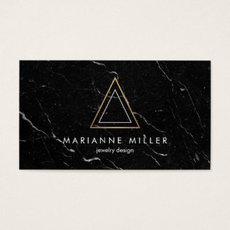 Edgy Rose Gold Triangle Logo Black Marble