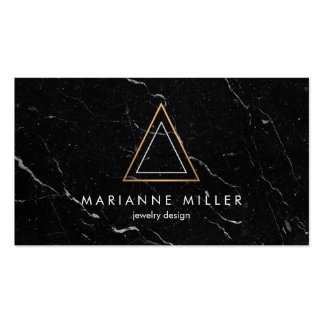 Edgy Rose Gold Triangle Logo Black Marble Pack Of Standard Business Cards