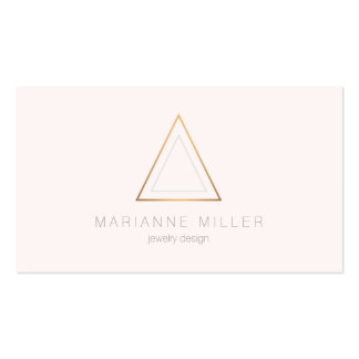 Edgy Rose Gold Triangle Logo on Light Pink Pack Of Standard Business Cards
