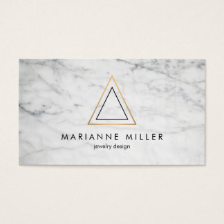 Edgy Rose Gold Triangle Logo White Marble