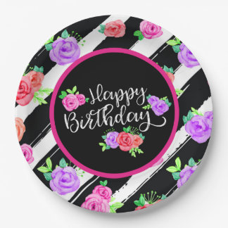 Edgy Roses & Modern Stripes Happy Birthday Party Paper Plate