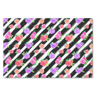Edgy Roses & Modern Stripes Trendy Birthday Party Tissue Paper