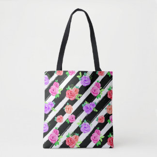 Edgy Roses & Modern Stripes Trendy Fashion Gift Tote Bag