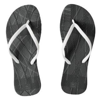 Edgy Tech Distorted Plaid Flip Flops Thongs