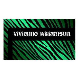 Edgy Urban Green Zebra Designer Business Card